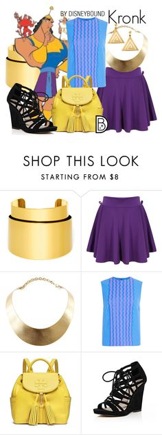 """Kronk"" by leslieakay ❤ liked on Polyvore featuring BaubleBar, GUESS, Opening Ceremony, Tory Burch, River Island, ChloBo, disney, disneybound and disneycharacter"