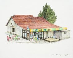 (Korea) A disappearing small store in a rural, 2013 by Lee Me Kyeoung ). with a pen use the acrylic ink on paper. Building Sketch, Old Building, Watercolor Illustration, Watercolor Paintings, Lee And Me, Sense Of Place, Urban Sketchers, Korean Artist, Visual Communication