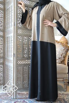 Lujain Black Abaya - Arabesque - Elegance By Design Niqab Fashion, Modern Hijab Fashion, Hijab Fashion Inspiration, Muslim Fashion, Fashion Outfits, Iranian Women Fashion, African Fashion, Black Abaya, Hijab Style