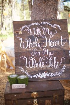 boho style rustic wooden wedding sign ideas