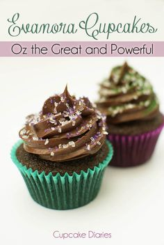 Cupcake Diaries: Evanora Cupcakes {Oz the Great and Powerful} Peanut Butter Cupcakes, Yummy Cupcakes, Just Desserts, Delicious Desserts, Yummy Food, Homemade Cake Recipes, Cupcake Recipes, Gourmet Cooking, Gourmet Recipes