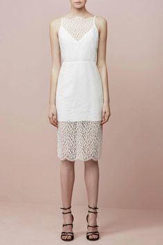 This dress is a lightweight lace floral, fitted midi.It is Ivory in color, it has an invisible zip, cut away 'V' neckline with a partially lined skirt and the straps are adjustable. It would be perfect for either a day or night out.   Daydream Lace Dress by Keepsake. Clothing - Dresses - Midi Clothing - Dresses - Lace Victoria, Australia