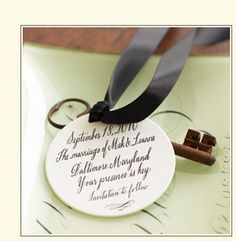 Save the dates using old keys and ribbon. I think this would look so cute with a steampunk based wedding/reception. You could also put the names of the bride and groom and the day for gift baggies!