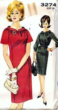 Vintage 60s red black dress suit color illustration wide collar sheath shift Advance Dress Sewing Pattern by vintagepatternstore, $13.90
