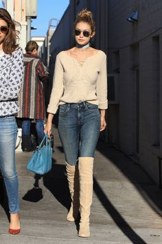 Daily Style Directory: Gigi Hadid in camel over-the-knee boots