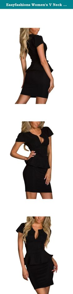 "Easyfashions Women's V Neck Short Sleeve Business Pencil Peplum Dress Size M Black. The size is from Tile measuring to Stretch measuring Size: There are 4 sizes (M/L/XL/XXL) available for the following listing Size M, Bust 33""-35"" /Waist 27""-29""/Hip 32""-34""/Length 29"" Size L, Bust 35""-37"" /Waist 29""-30""/ Hip 35""-37""/Length 29.5"" Size XL, Bust 37""-38"" /Waist 30""-32""/ Hip 37""-38""/Length 30"" Size XXL, Bust 39""-40"" /Waist 34""-35""/ Hip 39""-40""/Length 30.5"" Attention: Due to manual measurement…"