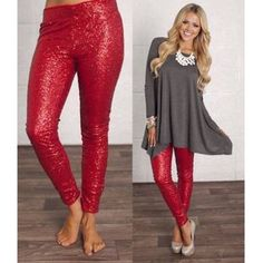The BROOKLYN sequin leggings - RED Super fun & which girl isn't head over heels in love with sequins? Perfect for the holidays, NYE, a hot date or girls night out. ONLY SIZE SMALL AVAILABLE‼️NO TRADE‼️ Pants Leggings