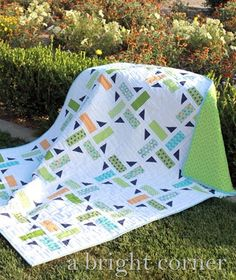 """Division quilt pattern from A Bright Corner - Finished quilt sizes: **all sizes are included in this one pattern**  Baby 40"""" x 40""""  Throw 53"""" x 65""""  Twin 78"""" x 90""""  Queen 90"""" x 90"""""""