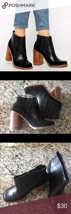 Asos Chelsea Boots Asos Evil Eye Chelsea Boots are great for a night out or a casual stroll in the city! These boots have a mix of leather and suede with a tan heel. These have never been worn. ASOS Shoes Ankle Boots & Booties