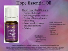 Hope essential oil, soooo good for depression and anxiety Essential Oils For Pain, Essential Oils Guide, Therapeutic Grade Essential Oils, Essential Oil Uses, Natural Essential Oils, Young Living Essential Oils, Esential Oils, Young Living Oils, Yl Oils