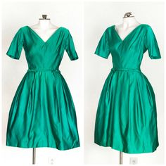 60s emerald green satin fit and flare party dress by TimeTravelFashions on Etsy