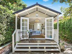 Backyard Guest Houses, Backyard Cabin, Paved Backyard Ideas, Backyard Studio, Cabana, Building A Porch, Home Improvement Loans, House With Porch, Garden In The Woods