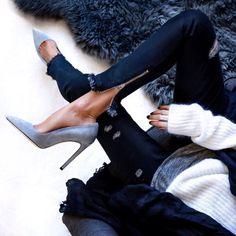 zippers and gray suede heels//