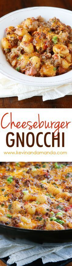 Cheeseburger Gnocchi — Easy Gnocchi Recipe — One Pot Meals Cheeseburger Gnocchi recipe! Pillowy soft potato dumplings (gnocchi) are toasted for a crunchy skin, but impossibly fluffy middle. Then they're simmered with seasoned beef and cheese for a Beef Dishes, Pasta Dishes, Food Dishes, Main Dishes, Gnocchi Dishes, Gnocchi Recipes, Pasta Recipes, Cooking Recipes, Healthy Recipes