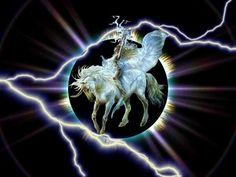 Power of the Unicorn - unicorn, woman, horn, horse, luis royo, lightning