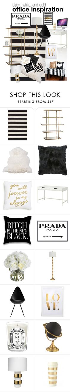 "From www.dysfunctionaleverafter.com | ""black, white, and gold office inspiration"" by featuring interior, interiors, interior design, home, home decor, interior decorating, Surya, Levtex, CO and Prada"