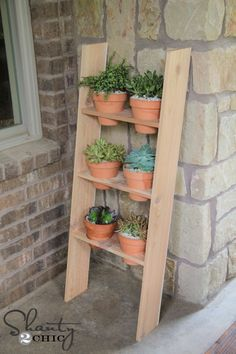 Hey friends!  Happy Monday!  To keep up with all of our projects, be sure to follow us on Instagram and Pinterest! I've been wanting a fun planter for a space on my back patio for a long time.  I LOVE how this baby turned out! Check out my $10 DIY Ladder Planter! How fun is {...Read More...}
