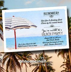 Convites da festa de chuva de praia listrada de Announcingit.com