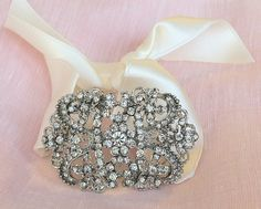 Vintageish Broach Bracelet Bridal or Bridesmaid by leighhallyb, $29.00