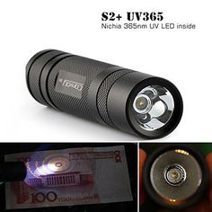 Specification: Product name: Convoy S2+ Nichia 365nm UV LED Flashlight Brand: Convoy Model: S2+ Emitter Type: Nichia 365nm UV LED Material: Aluminum Alloy Mode: 1Mode Wavelength: 365nm Battery Configurations: 1 x 18650 battery (not included) Switch Type: clicky Switch Location: tail cap Reflector: Orange Peel Reflector Carrying Strap: included Waterproof: IPX-8 Waterproof Color: black Weight: 90g without battery Size: 118mm(length)x24.1mm(dia) Features: 1.UV light is a devi * (Placed within