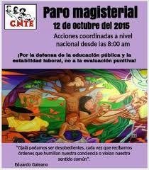 12 de octubre: Paro Nacional de la CNTE contra la imposición, por una educación pública, gratuita y laica