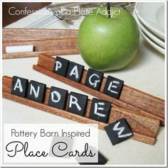 CONFESSIONS OF A PLATE ADDICT Pottery Barn Inspired Chalkboard Tile Place Cards - what a cool idea!