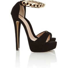 'NENA' GOLD CHAIN BLACK SUEDE HEELS (3,040 MXN) ❤ liked on Polyvore featuring shoes, sandals, heels, sapatos, zapatos, black heeled sandals, heeled sandals, gold heel shoes, gold heeled sandals and black gold sandals