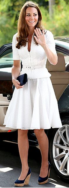 Kate Middleton: Dress - Sarah Burton for Alexander McQueen Shoes - Stuart Weitzman Corkswoon Stuart Weitzman - Corkswoon Stuart Weitzman Women's Corkswoon Wedge Pump