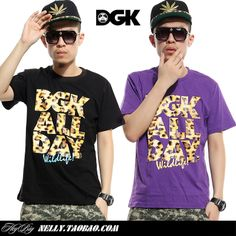 2014 new designer 100% cotton Dgk all day leopard print letter t-shirt male Women hiphop rock smith pink dolphin $24.63