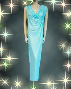VINTAGE JOHN KLOSS GODDESS DRAPED COWL NECKLINE NIGHTGOWN IN LAGOON