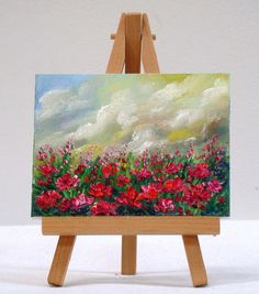 Field Of Poppies, 3x4, original, miniature floral painting by valdasfineart on Etsy