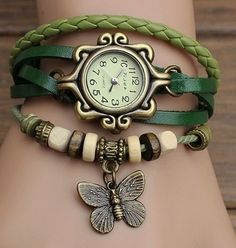 Handmade Vintage Quartz Weave Around Leather Bracelet Lady