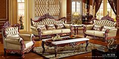 Ma Xiaoying Genuine Leather and Luxury Classical ,Collection 3pc Set:Chair,Loveseat & Sofa ,Solid Wood Frame Carved by Hand, Brown by Ma Xiaoying