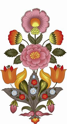 New Creation Digital Flower All Colour 库存插图 1497616106 Folk Art Flowers, Botanical Flowers, Botanical Prints, Vintage Flowers, Flower Art Images, Flower Pictures, Bunch Of Flowers, Big Flowers, Floral Rug
