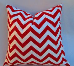 Chevron Decorative throw pillow cover in lipstick red by LivePlush, $13.00
