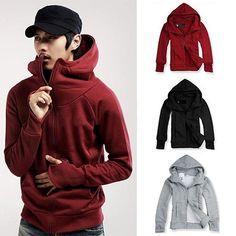 Cool Men Winter Warm Solid Color Gloves Sleeve Hooded Sweatshirt Outwear Jacket #Affiliate