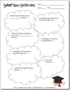 FREEBIE from Laura Candler... School Year Reflections printable She has so many great ideas!