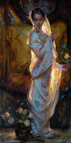 Becoming by Dan Gerhartz, Oil, 60 x 30 Classic Paintings, Beautiful Paintings, Romantic Paintings, Fantasy Kunst, Fantasy Art, Renaissance Paintings, Medieval Paintings, Classical Art, Aesthetic Art