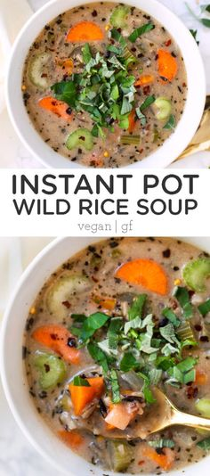 This Creamy Vegan Wild Rice Soup is made in the Instant Pot and is a simple, healthy and hearty meal that's packed with nutrients! Great for meal prep too! Clean Eating Recipes, Lunch Recipes, Soup Recipes, Free Recipes, Breakfast Recipes, Chicken Recipes, Healthy Meal Prep, Healthy Soup, Healthy Chicken