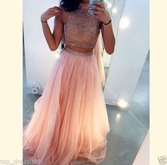 Sexy-Long-Halter-Peach-Tulle-Two-Piece-Formal-Prom-Party-Evening-Dresses-Custom