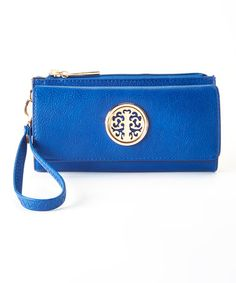 Blue & Gold Removable Wristlet Wallet by MKF Collection #zulily #zulilyfinds