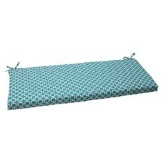 Outdoor Bench Cushion - Teal/White Geometric