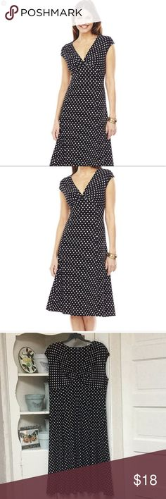 """Chaps Fit and Flare Polka Dot Dress EUC Chaps fit and flare dress. Polka dots! Sleeveless and pull over head.  Approx 45-46"""" long 20"""" bust flat Stretchy! My home is smoke free and home to one little dog  Chaps Dresses Midi"""