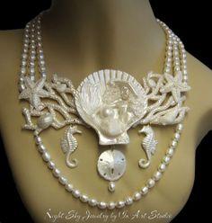 Mermaid Jewelry White Pearl Mermaid Necklace by InArtStudio