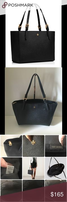"""NWOT TORY BURCH YORK BUCKLE TOTE SMALL BLACK Authentic  NWOT Tory Burch York Buckle Tote Small  Black Holds a full day's essentials, plus a 10"""" tablet, a small makeup bag and a notebook Open top Flat leather shoulder straps with 8"""" (21 cm) drop 1 interior zip compartment, 2 open pockets with D-ring detail, 1 hanging zipper pocket 2 drop-in pockets on exterior of hanging zipper pocket Height: 8.7"""" (22 cm) Length: 12"""" (30 cm) Depth: 5"""" (13 cm) NEW WITHOUT TAGS Does Not Include Dust Bag Or…"""