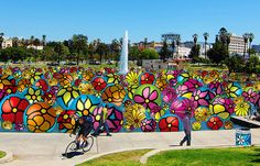 """#psychedelic #summer #art :) This summer, MacArthur Park Lake will be filled with about 7,000 enormous, handpainted, inflatable spheres in a """"one-of-a-kind floating artwork."""" The project comes from Portraits of Hope, which has also covered New York taxis and Los Angeles lifeguard towers in its signature graphic flowers. The Spheres at MacArthur Park were seven years in the works, according to an April story at CBS LA, but finally got approval this past December."""