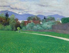 Spring landscape, around Lausanne Félix Vallotton Zwitserland Lausanne, Spring Landscape, Abstract Landscape, Landscape Paintings, Pierre Bonnard, Toulouse, Matisse, Van Gogh, Beginner Painting