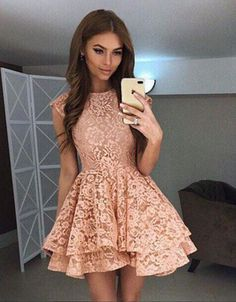 Elegant Homecoming Dresses,A-line Homecoming Dresses,Lace Homecoming Dresses,Pink Homecoming