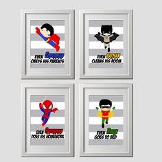 Superhero wall art prints wall decor set of 4 by AmysDesignShoppe