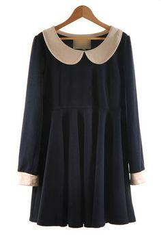 Navy Peter Pan Collar Long Sleeve Dress